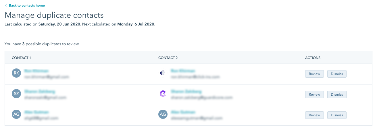 HubSpot migration managing duplicates tool