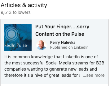 Put your content on LinkedIn Pulse